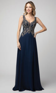 Juno - 926 Beaded Sleeveless V-Neck A-Line Chiffon Gown In Blue