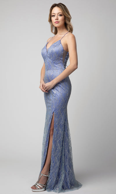 Juno - 927 Embellished Plunging V Neck Sheath Dress In Blue