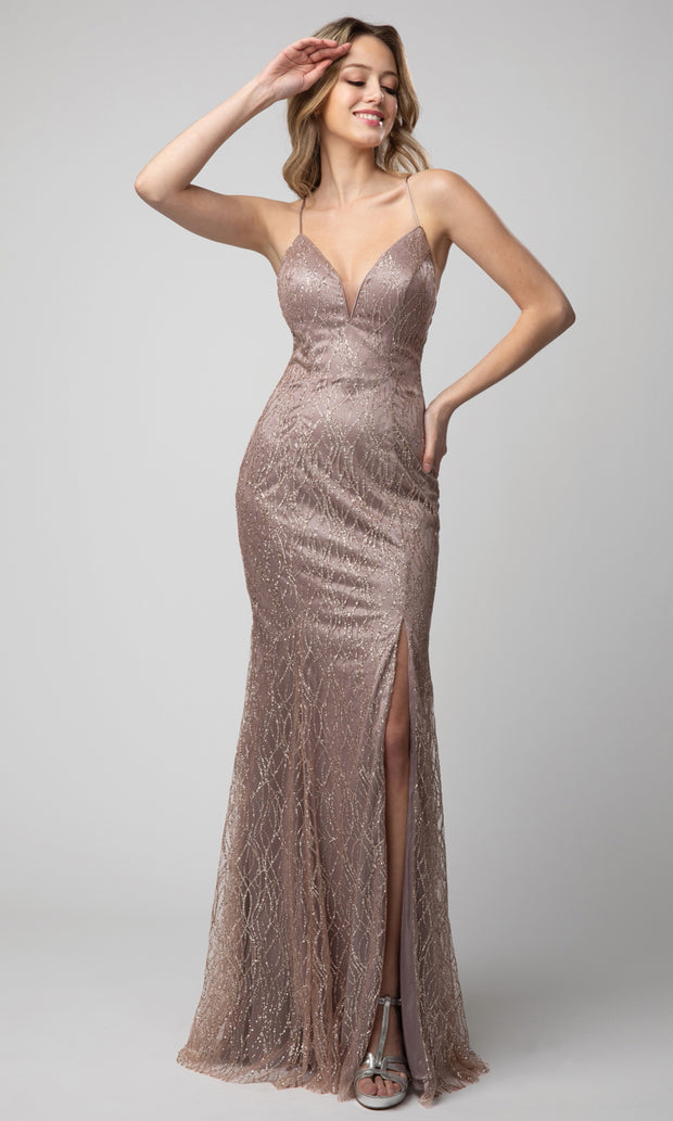 Juno - 927 Embellished Plunging V Neck Sheath Dress In Pink