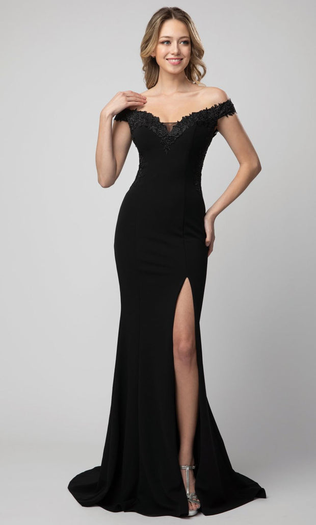 Juno - 928 Embroidered Off Shoulder Trumpet Dress In Black