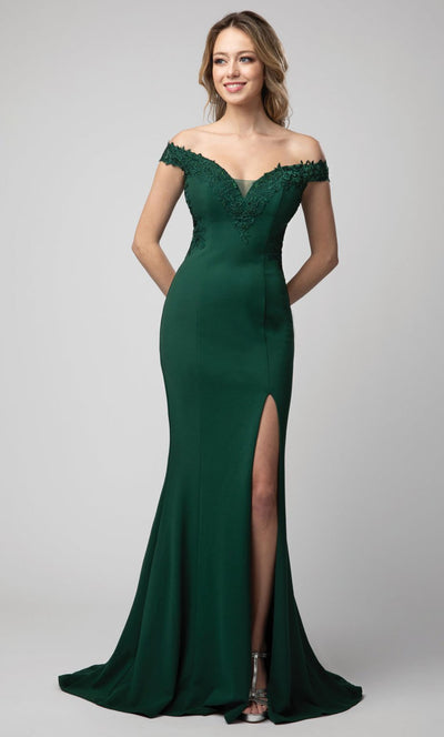 Juno - 928 Embroidered Off Shoulder Trumpet Dress In Green