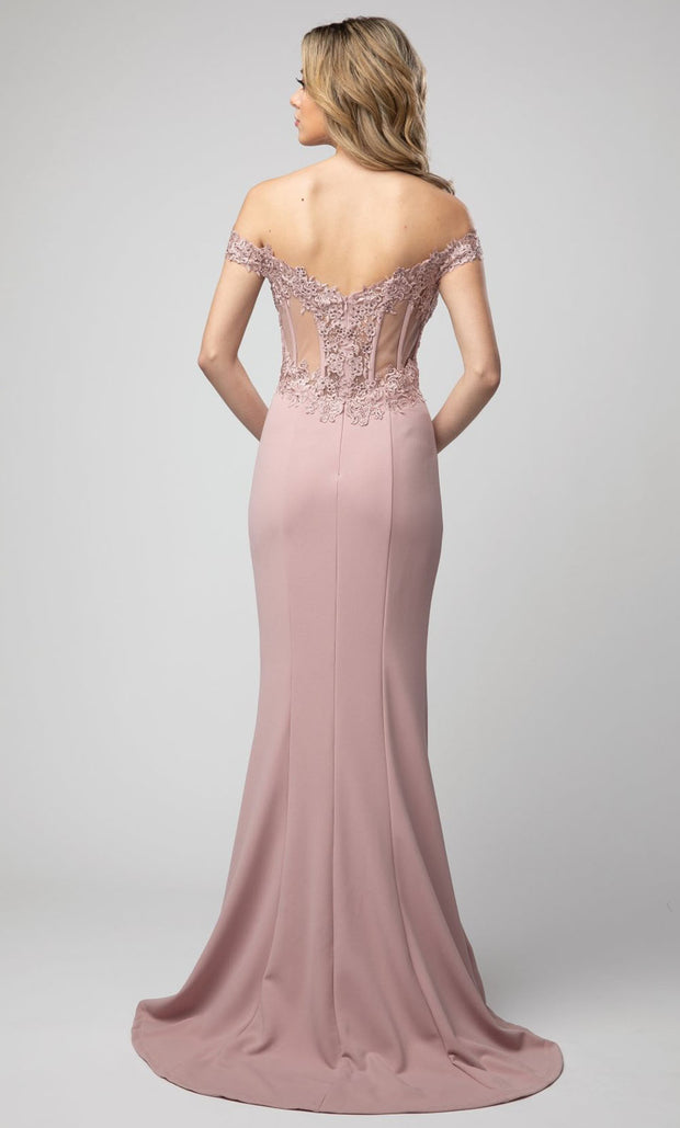 Juno - 928 Embroidered Off Shoulder Trumpet Dress In Pink
