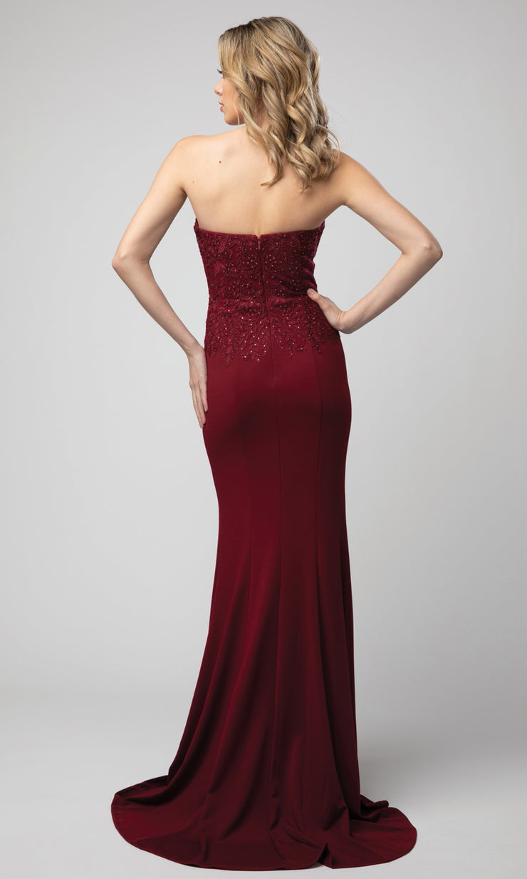 Juno - 930 Strapless Appliqued Sweetheart High Slit Dress In Burgundy