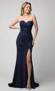 Juno - 930 Strapless Appliqued Sweetheart High Slit Dress In Blue