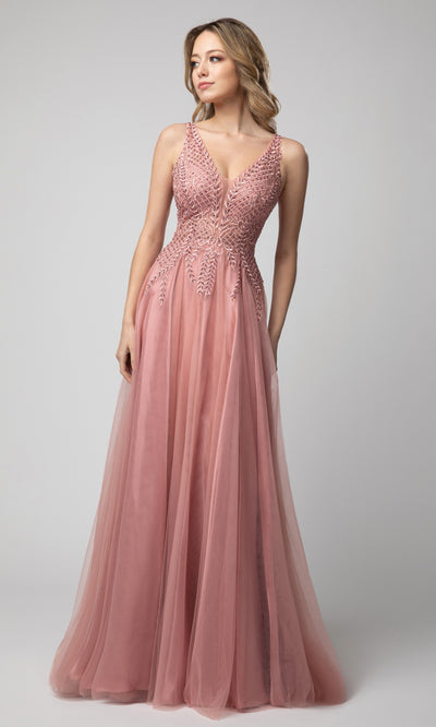Juno - 933 Embroidered Deep V Neck A-line Gown In Pink