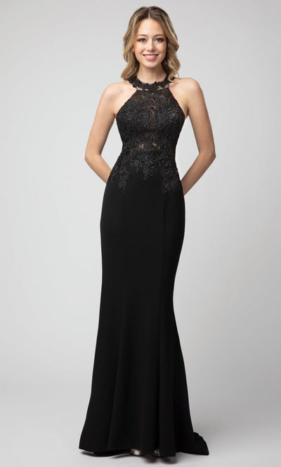 Juno - 934 Embroidered Halter Neck Sheath Dress In Black