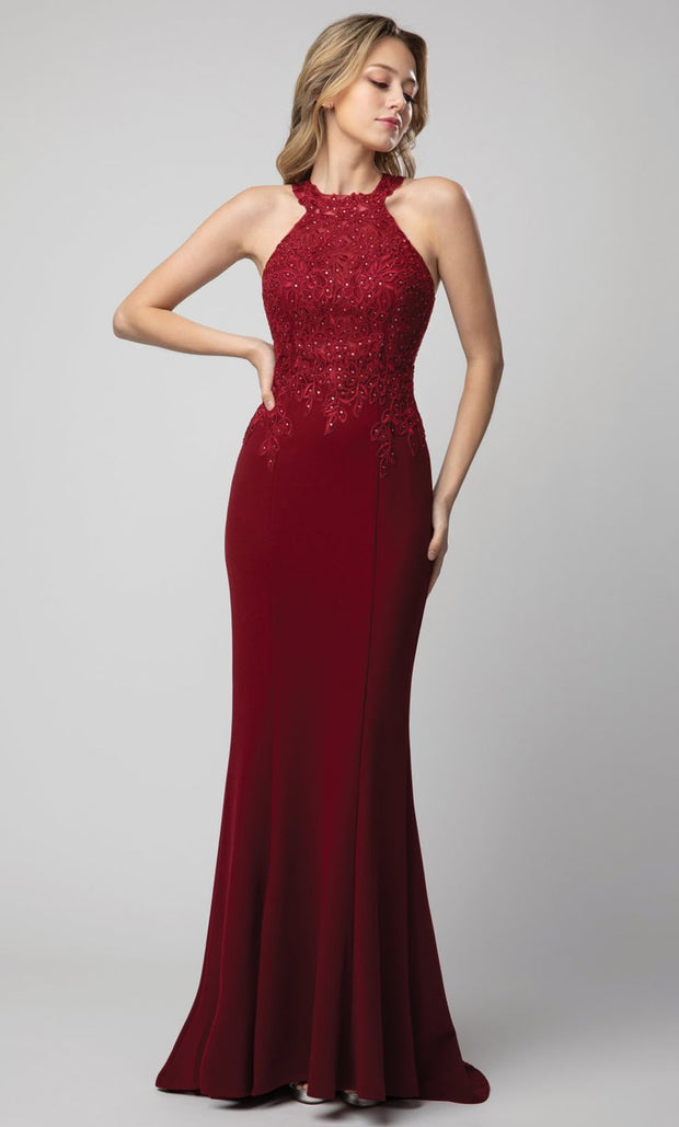 Juno - 934 Embroidered Halter Neck Sheath Dress In Red