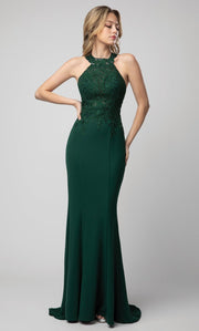 Juno - 934 Embroidered Halter Neck Sheath Dress In Green