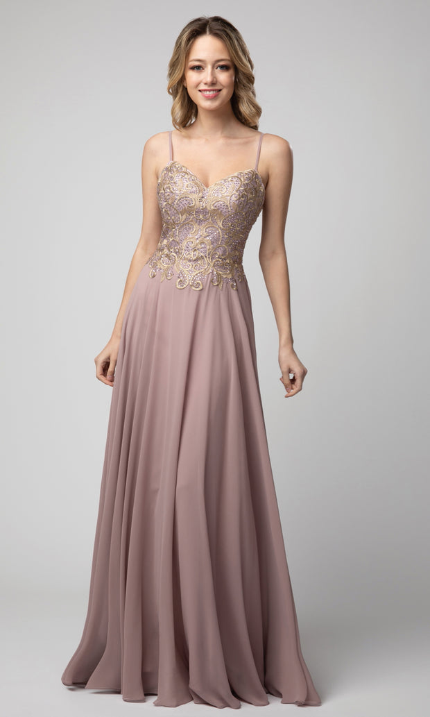 Juno - 937 Embroidered V Neck A-line Gown In Pink