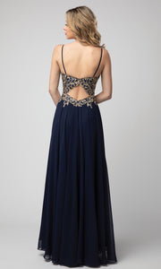 Juno - 937 Embroidered V Neck A-line Gown In Blue