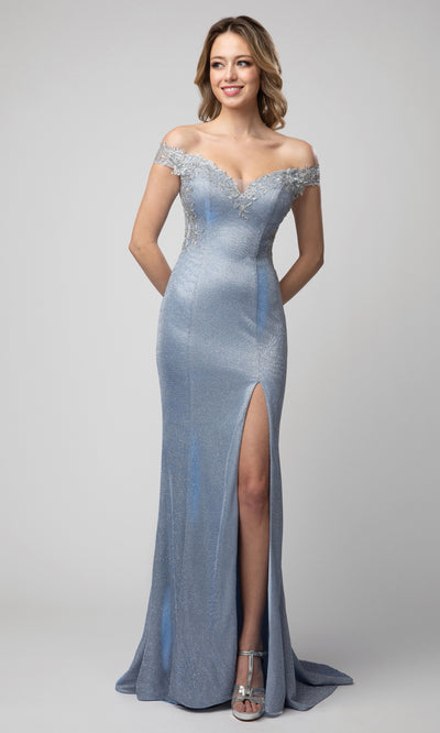 Juno - 938 Applique Ornate Off Shoulder Metallic Dress In Blue