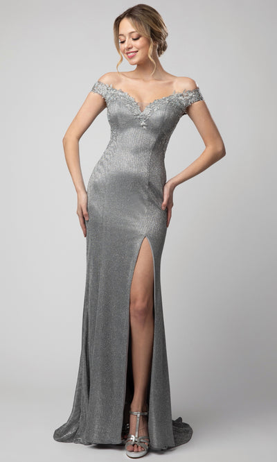 Juno - 938 Applique Ornate Off Shoulder Metallic Dress In Silver & Gray
