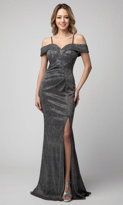 Juno - 940 Cold Shoulder High Slit Shimmer Metallic Gown In Silver & Gray