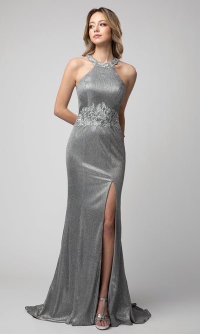Juno - 942 Appliqued Metallic Halter Neck Dress In Silver & Gray