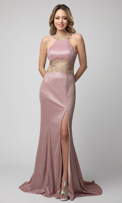 Juno - 942 Appliqued Metallic Halter Neck Dress In Pink