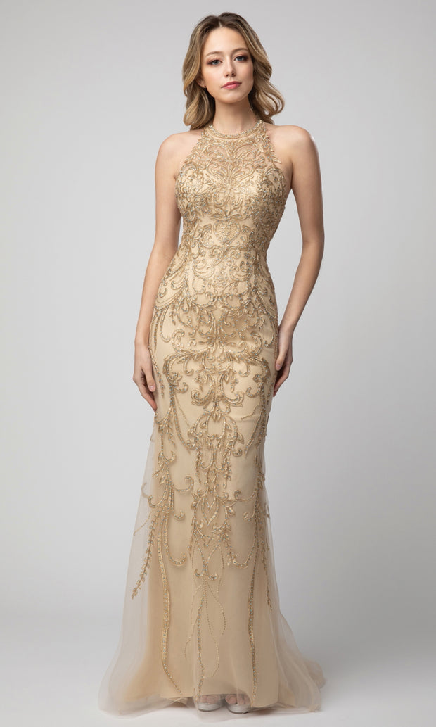 Juno - 948 Long Embroidered Cutout Back Dress In Champagne & Gold