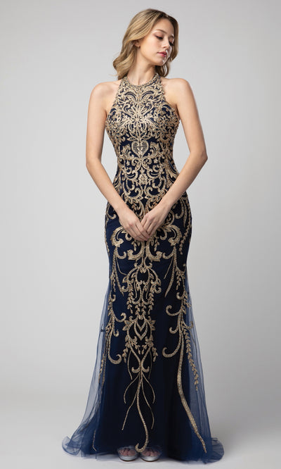 Juno - 948 Long Embroidered Cutout Back Dress In Blue
