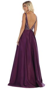 May Queen - MQ1632 Beaded V-Neck A-Line Gown In Purple