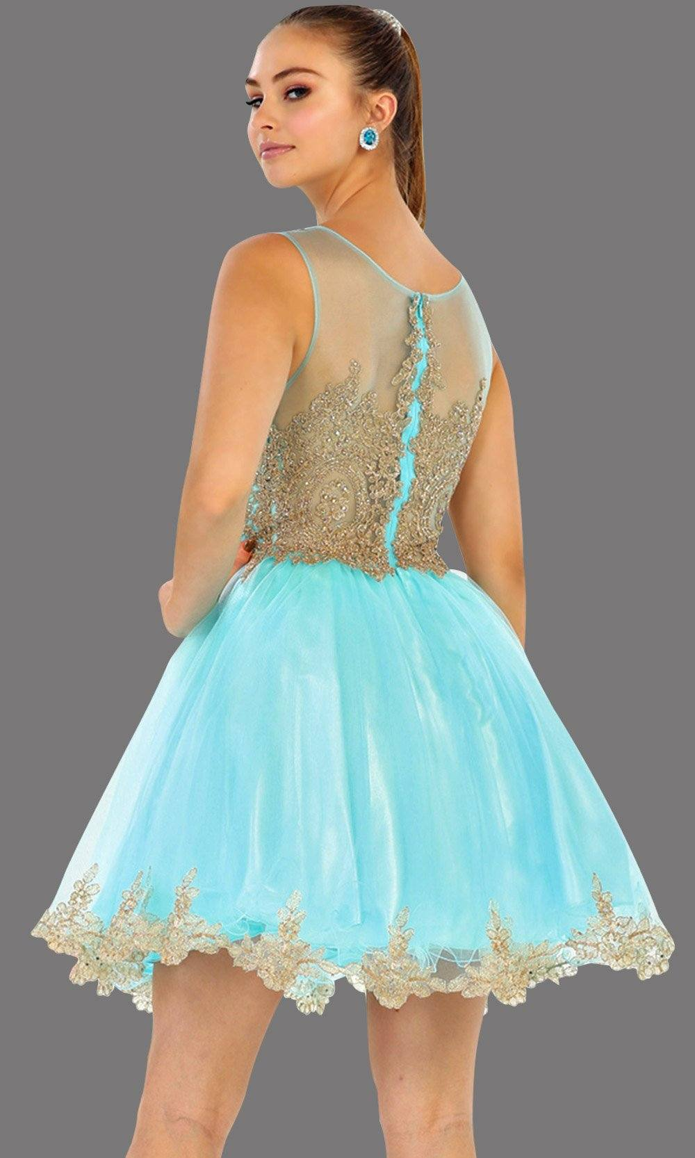 Back of short high neck aqua grade 8 grad puffy dress with gold lace. This light blue grade 8 graduation short and pretty. Can be worn as short prom dress, quinceanera damas, bah mitzvah, sweet 16, or confirmation. Avail in plus size