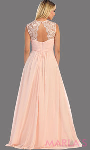 Back of a simple long blush dress with lace straps. It is a full a-line skirt  and is perfect for your next function. It can be worn as a wedding guest dress, simple pink prom dress, or even party dress