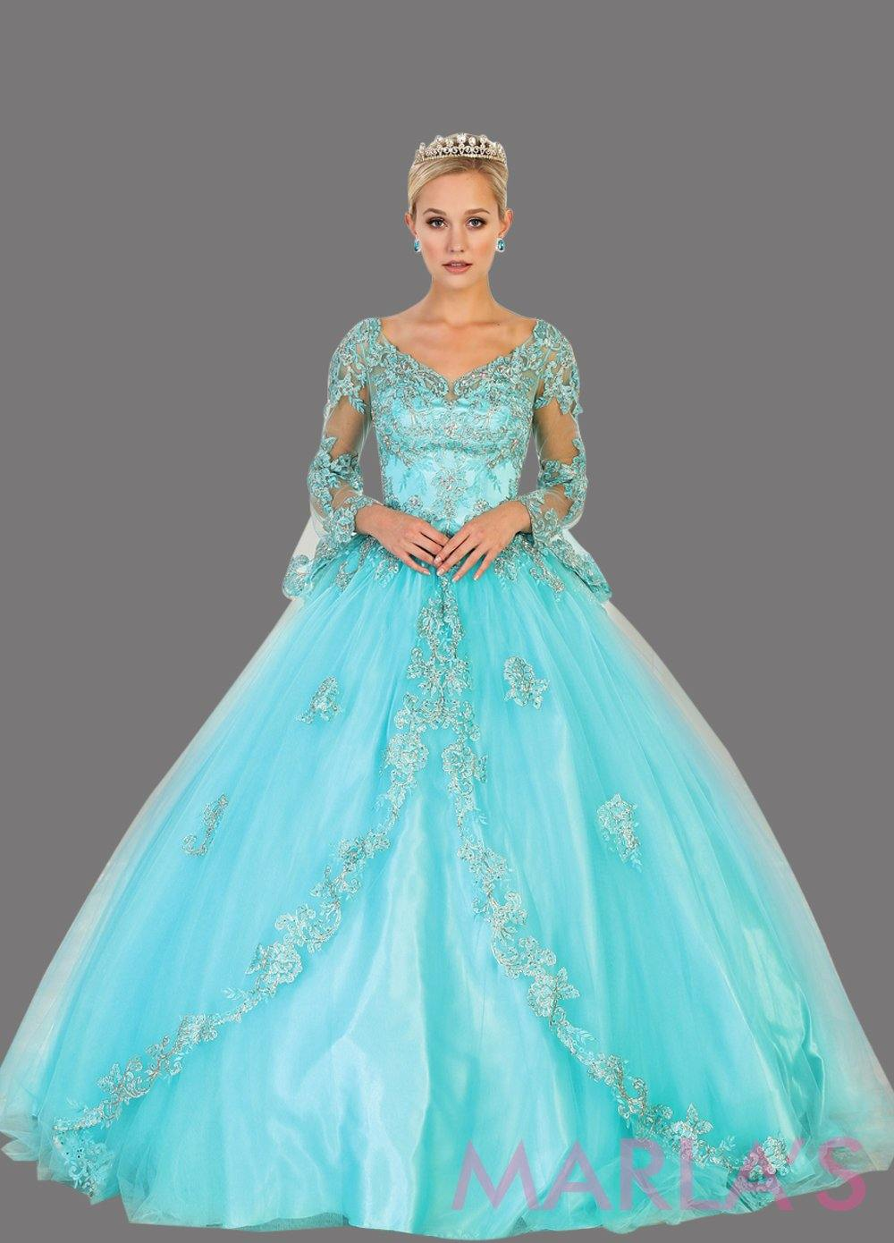 Long aqua blue ball gown with sheer long sleeves. This light blue ballgown is perfect for Quinceanera, Sweet 16, Debut, Wedding Reception, Engagement Dress, Indian Wedding. Avail in plus size.