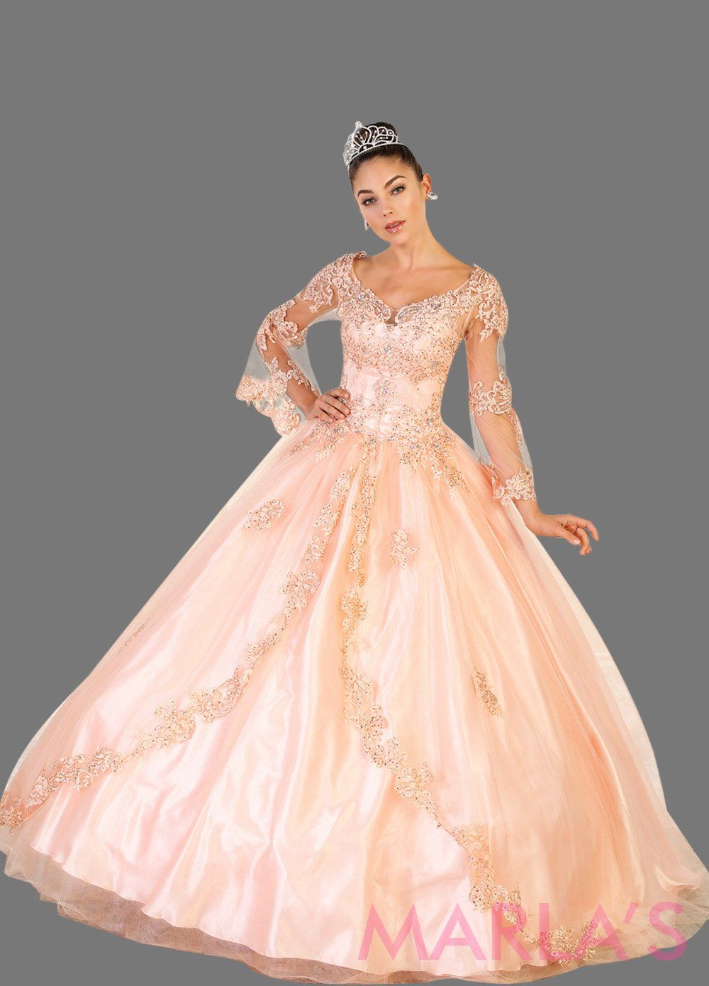Long blush pink ball gown with sheer long sleeves. This light pink ballgown is perfect for Quinceanera, Sweet 16, Debut, Wedding Reception, Engagement Dress, Indian Wedding. Avail in plus size.