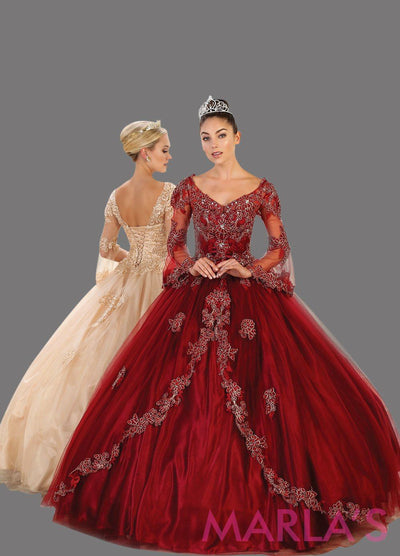 Long burgundy dark red ball gown with sheer long sleeves. This dark red ballgown is perfect for Quinceanera, Sweet 16, Debut, Wedding Reception, Engagement Dress, Indian Wedding. Avail in plus size.