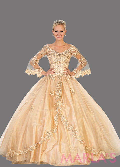 Long champagne gold ball gown with sheer long sleeves. This beige gold ballgown is perfect for Quinceanera, Sweet 16, Debut, Wedding Reception, Engagement Dress, Indian Wedding. Avail in plus size.