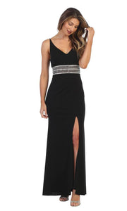 Juno - 1004 Plunging V Neck Embellished Sheath Dress In Black