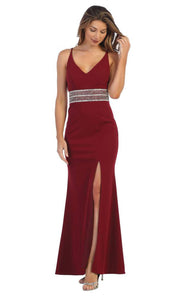 Juno - 1004 Plunging V Neck Embellished Sheath Dress In Red
