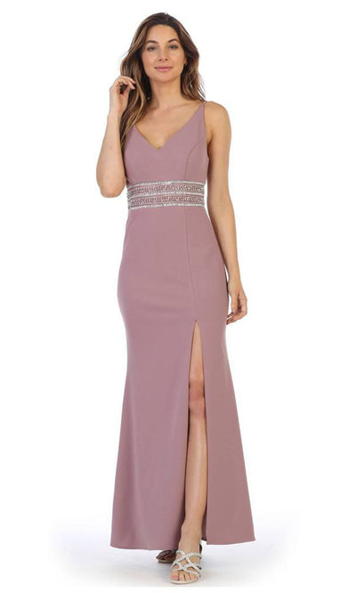 Juno - 1004 Plunging V Neck Embellished Sheath Dress In Pink