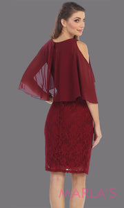 Back of Short burgundy red modest party dress from Juno 926. This dark red semi formal party dress is perfect as mother of the bride dress, wedding guest dress, plus size party dress, indowestern party dress, holiday party dress, gala evening party
