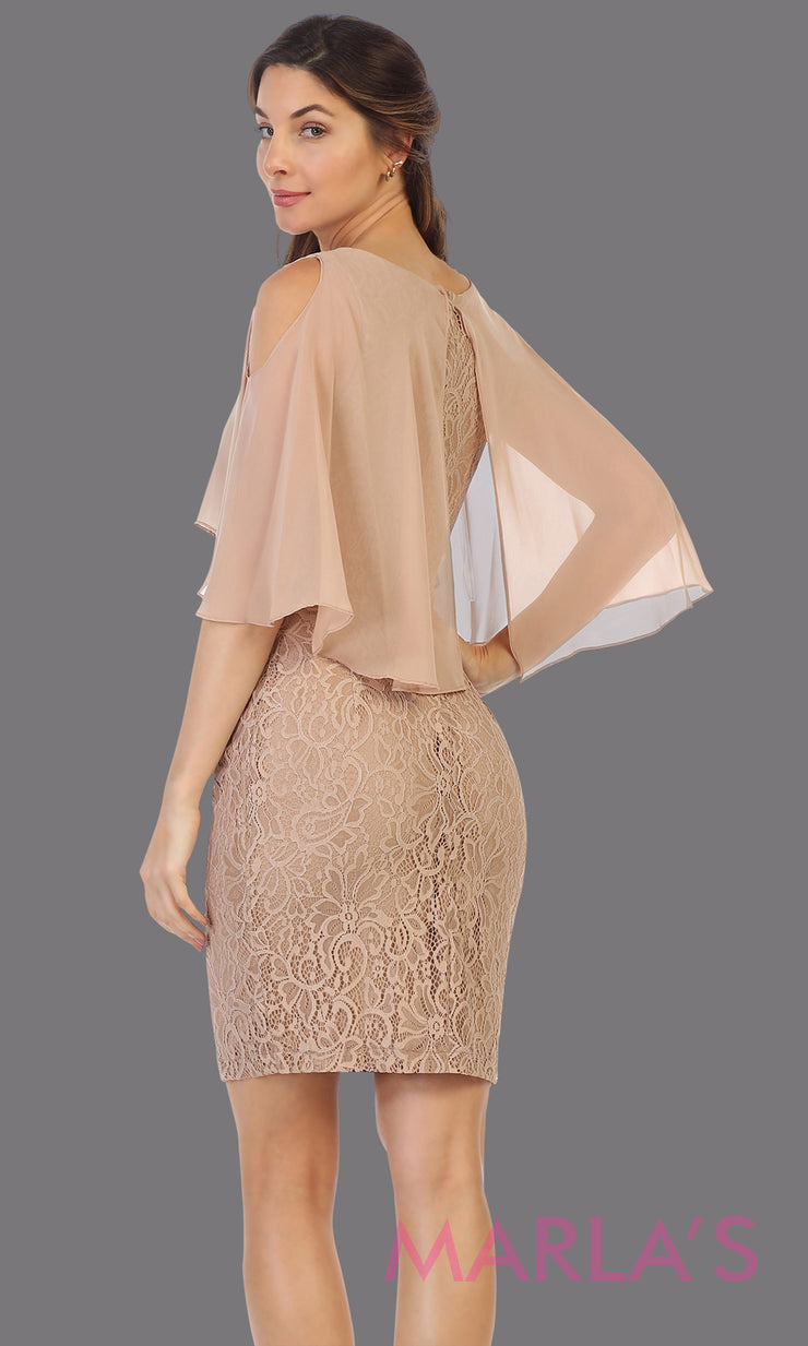 Back of Short mocha modest party dress from Juno 926. This light brown semi formal party dress is perfect as mother of the bride dress, wedding guest dress, plus size party dress, indowestern party dress, holiday party dress, gala evening party