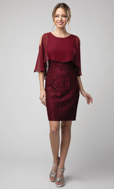 Juno - 1007 Cold Shoulder Caped Lace Sheath Cocktail Dress In Burgundy