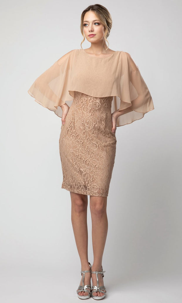 Juno - 1007 Cold Shoulder Caped Lace Sheath Cocktail Dress In Champagne & Gold