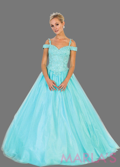Long aqua blue ball gown with off shoulder neckline. This light blue ballgown is perfect for Quinceanera, Sweet 16, Debut, Wedding Reception, Engagement Dress, Indian Wedding. Avail in plus size.