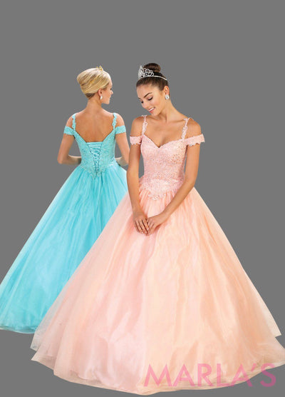 Long blush pink ball gown with off shoulder neckline and thin straps. This light pink ballgown is perfect for Quinceanera, Sweet 16, Debut, Wedding Reception, Engagement Dress, Indian Wedding. Avail in plus size.