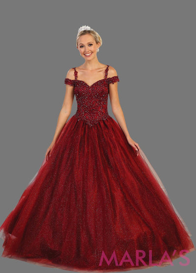 Long burgundy dark red ball gown with off shoulder neckline and thin straps This dark red ballgown is perfect for Quinceanera, Sweet 16, Debut, Wedding Reception, Engagement Dress, Indian Wedding. Avail in plus size.