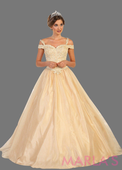 Long champagne gold ball gown with off shoulder neckline and thin straps. This beige gold ballgown is perfect for Quinceanera, Sweet 16, Debut, Wedding Reception, Engagement Dress, Indian Wedding. Avail in plus size.