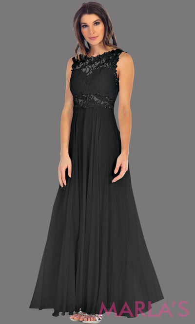 Long black flowy dress with high neck. The lace bodice flows into a flowy chiffon skrit. It has a centred back zip and is perfect for simple prom dress, pink wedding guest dress, or party dress. Available in plus sizes