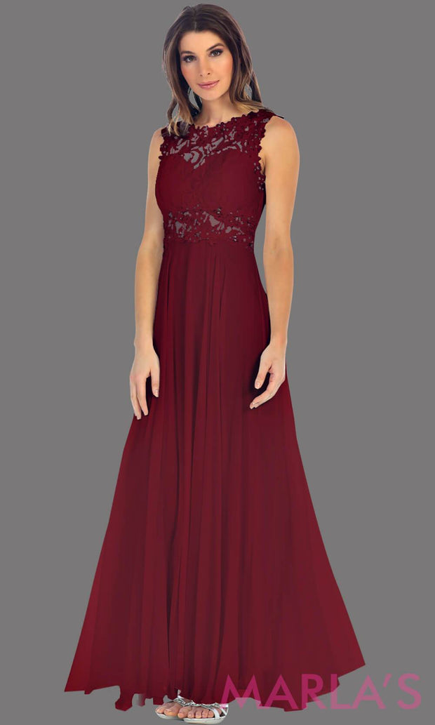 Long burgundy flowy dress with high neck. The lace bodice flows into a flowy chiffon skrit. It has a centred back zip and is perfect for simple prom dress, pink wedding guest dress, or party dress. Available in plus sizes