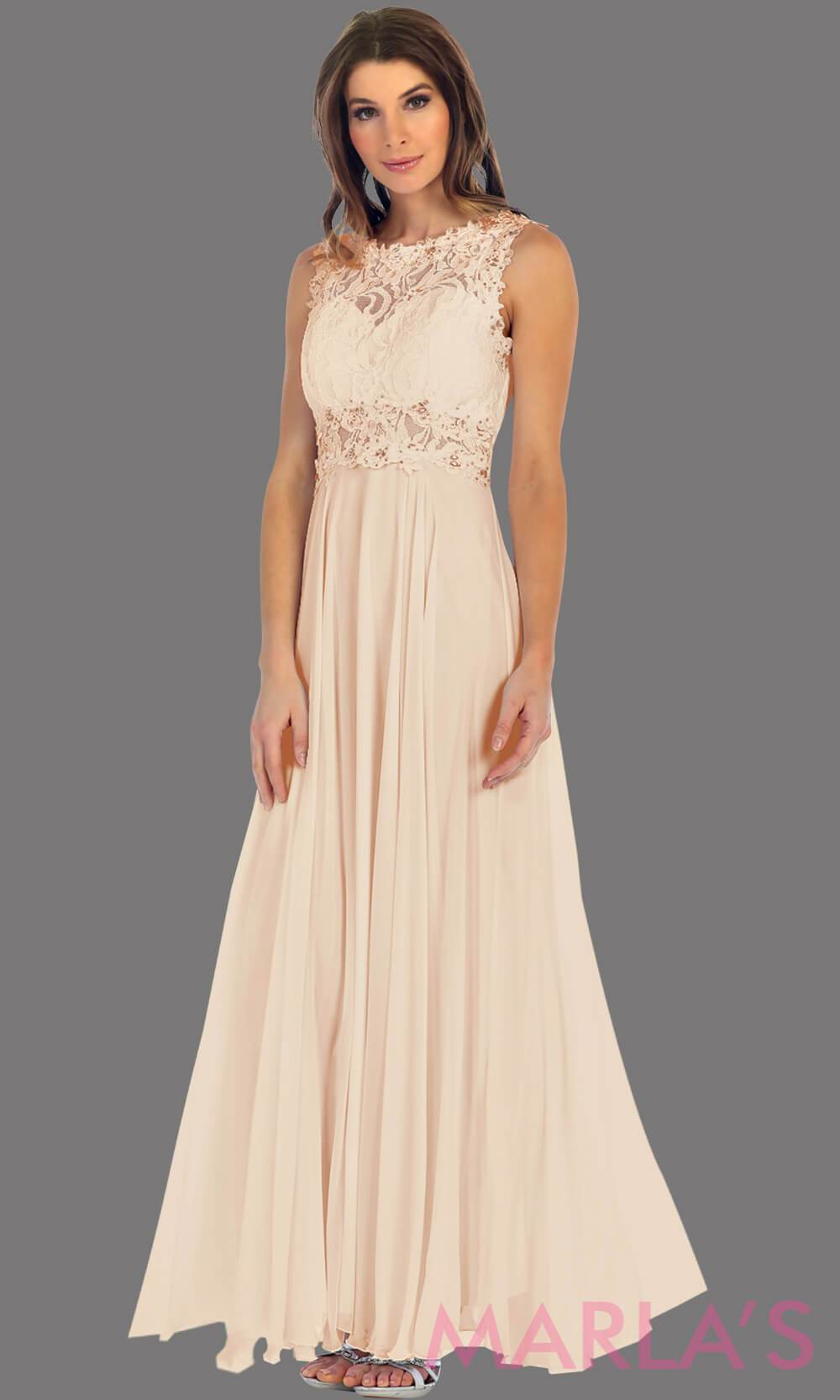Long champagne flowy dress with high neck. The lace bodice flows into a flowy chiffon skrit. It has a centred back zip and is perfect for simple prom dress, pink wedding guest dress, or party dress. Available in plus sizes