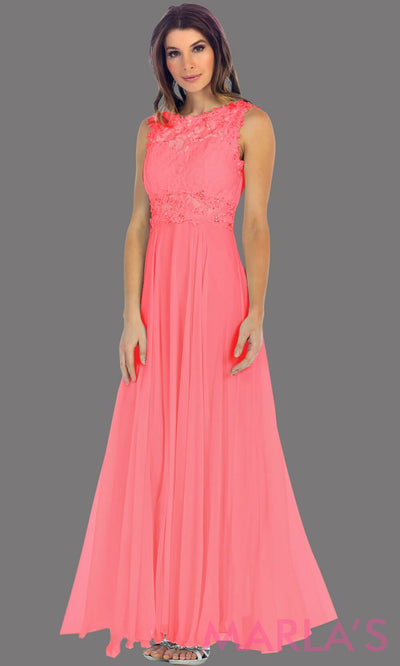 Long coral flowy dress with high neck. The lace bodice flows into a flowy chiffon skrit. It has a centred back zip and is perfect for simple prom dress, pink wedding guest dress, or party dress. Available in plus sizes