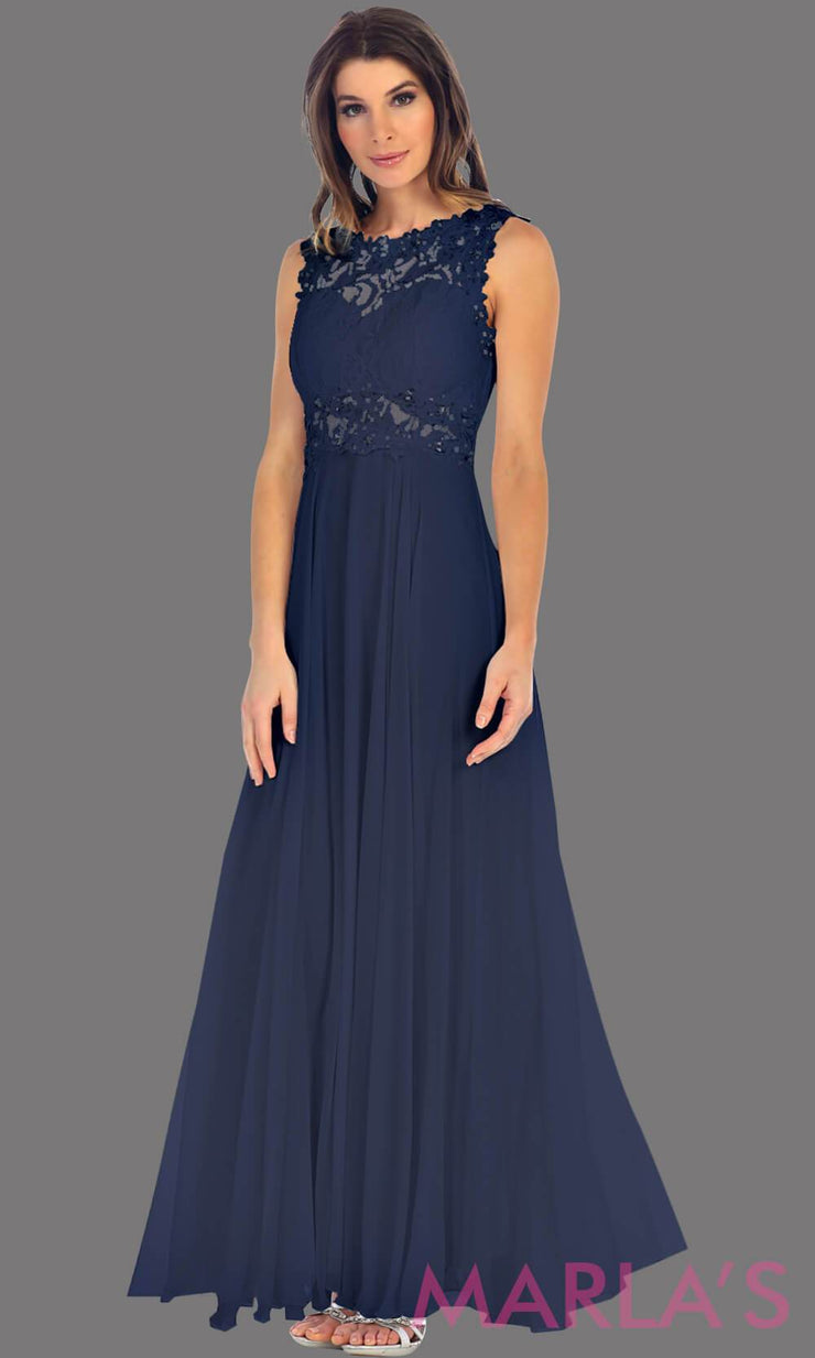 Long navy flowy dress with high neck. The lace bodice flows into a flowy chiffon skrit. It has a centred back zip and is perfect for simple prom dress, pink wedding guest dress, or party dress. Available in plus sizes