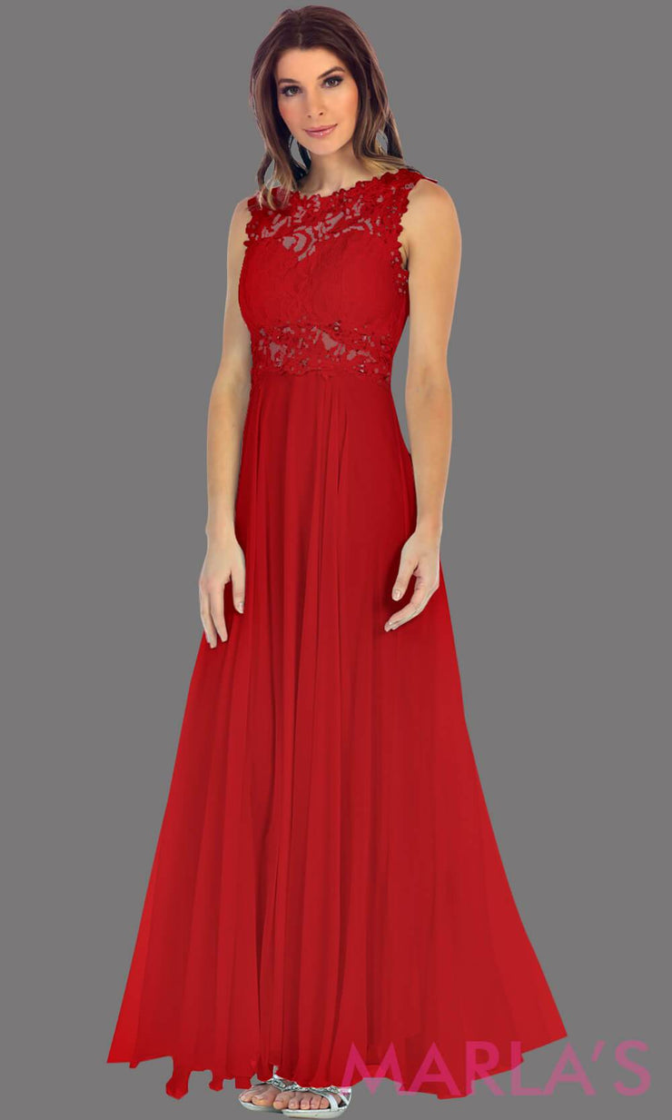 Long red flowy dress with high neck. The lace bodice flows into a flowy chiffon skrit. It has a centred back zip and is perfect for simple prom dress, pink wedding guest dress, or party dress. Available in plus sizes