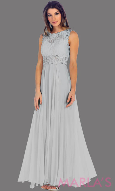 Long silver flowy dress with high neck. The lace bodice flows into a flowy chiffon skrit. It has a centred back zip and is perfect for simple prom dress, pink wedding guest dress, or party dress. Available in plus sizes