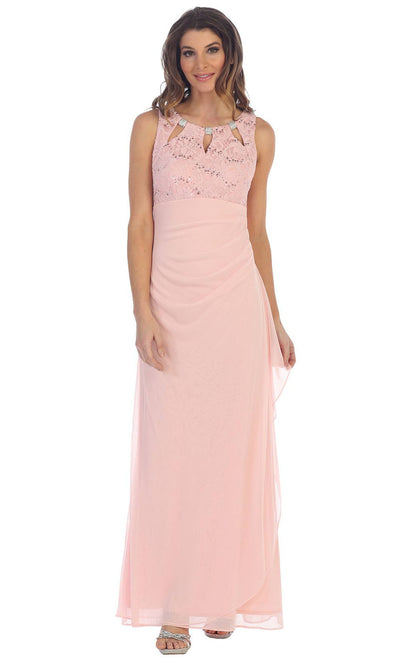 Juno - 1017 Multi-Cutout Neckline Lace and Chiffon Gown In Pink