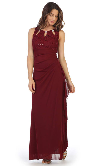 Juno - 1017 Multi-Cutout Neckline Lace and Chiffon Gown In Burgundy