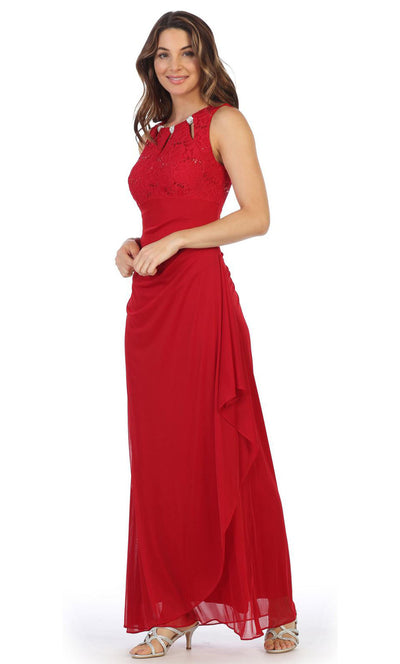 Juno - 1017 Multi-Cutout Neckline Lace and Chiffon Gown In Red