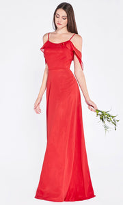 Cinderella Divine - 1018 Scoop Neck Column Gown In Red